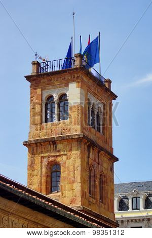 Tower with flags