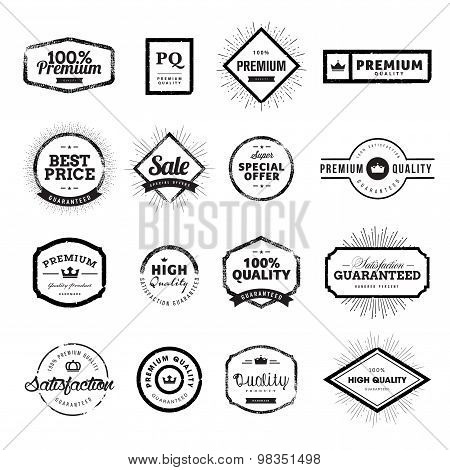 Set of vintage style premium quality badges and labels