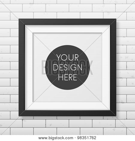 Realistic square black frame  on the brick wall background