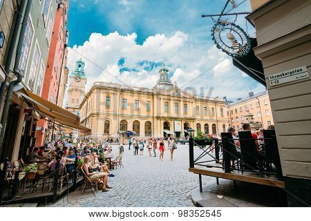 Swedish Academy and Nobel Museum on Stortorget square in Old City