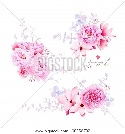 Spring Magnolia And Peonies Vector Bouquets