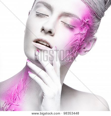 Art fashion girl with white skin and pink paint on the face.  Creative art beauty.