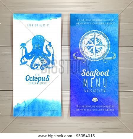 Set Of Blue Watercolor Seafood Banners