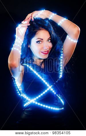 Beautiful Woman With Fairy Lights