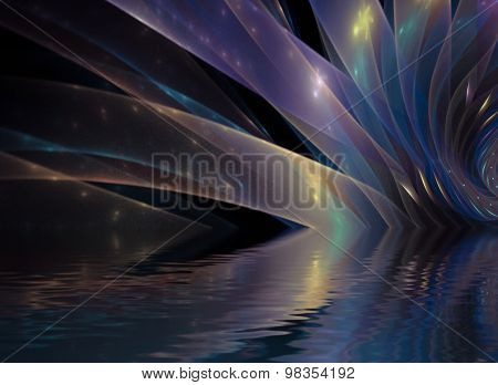Abstract interplay of curves, colors and lights to convey sense of elegant motion, graceful dynamism, design and style.