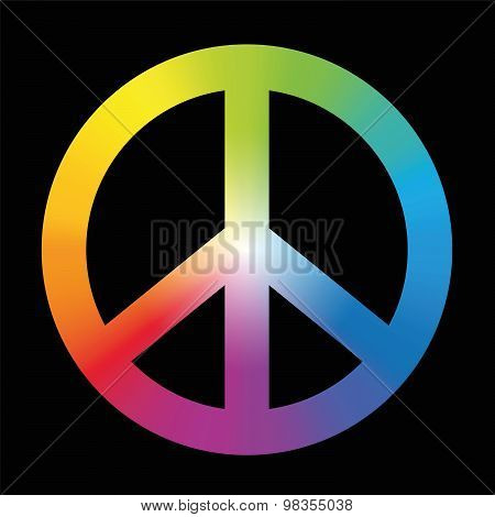 Peace Sign Colorful Rainbow Black