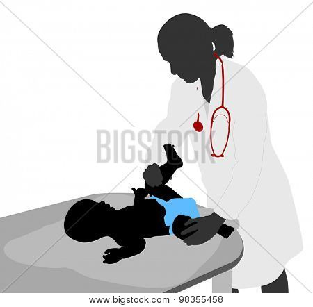 Pediatrician examining of baby silhouette