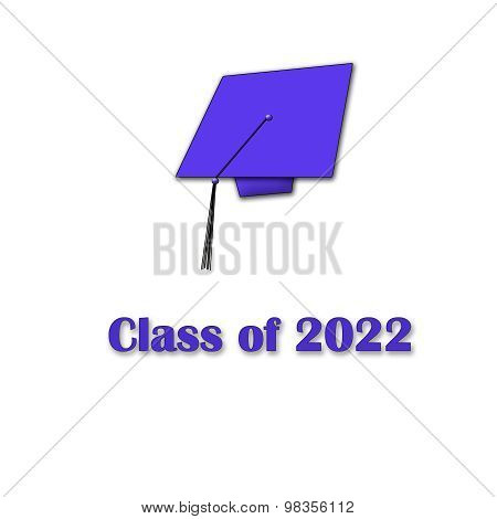 Class of 2022 Purple on White Single Large