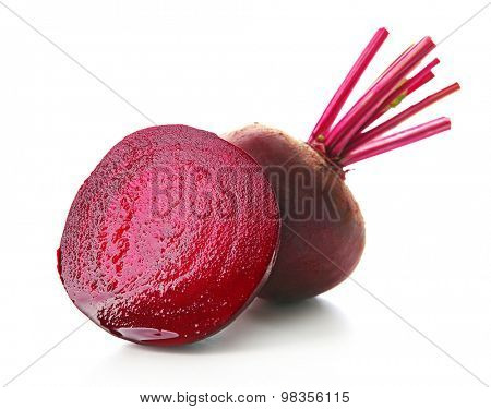 Young beets isolated on white