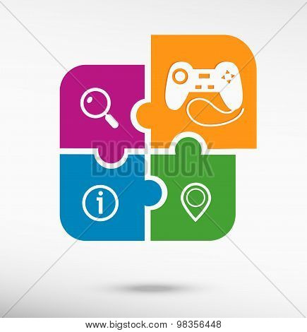 Joystick Icon On Colorful Jigsaw Puzzle