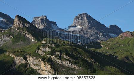 High Mountains And Jochpass Chair Lift