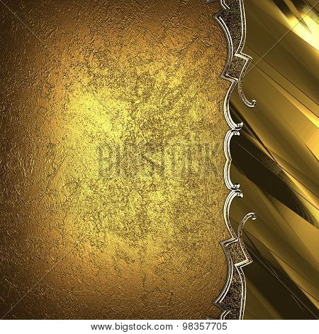 Gold Plate With Gold Trim On Yellow Grunge Background. Element For Design. Template For Design. Copy