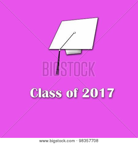 Class of 2017 White on Pink Single Lg
