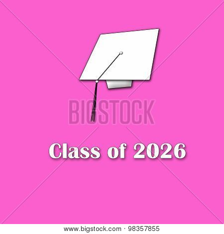 Class of 2026 White on Pink Single Lg