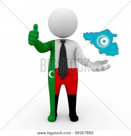 3d people Meskhetian Turks - map flag of Meskhetian-Turkic Council. Meskhetian Turks turkic people.