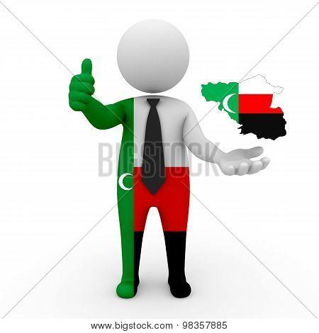 3d people Meskhetian Turks - map flag of Meskhetian-Meskhetian Turks. Meskhetian in Meskhetian Turks