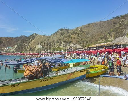 Crowded Caribbean Island In Colombia