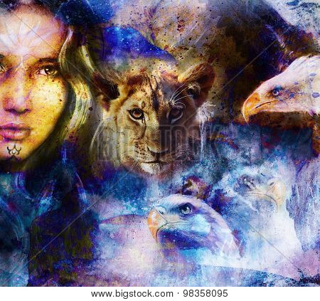 Lion cub and woman with eagles Abstract Collage. Eye contact. Abstract structure background.