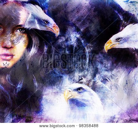 beautiful painting Woman  with a flying eagle beautiful painting illustration collage.