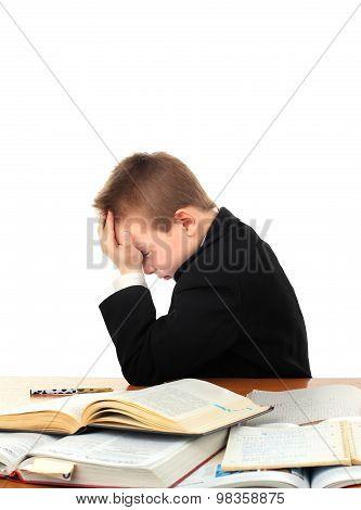 Sad Kid On The School Desk
