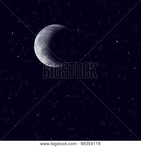 Half moon on the dark sky