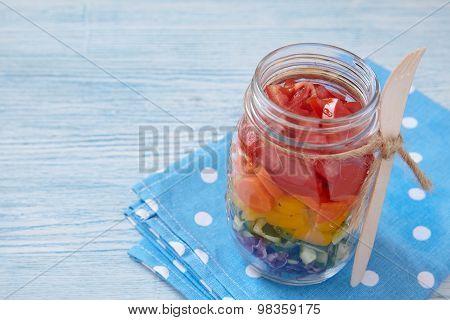 Rainbow salad in mason jar