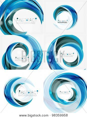 blue swirl line abstract background. Modern layout for your message, slogan or brand name
