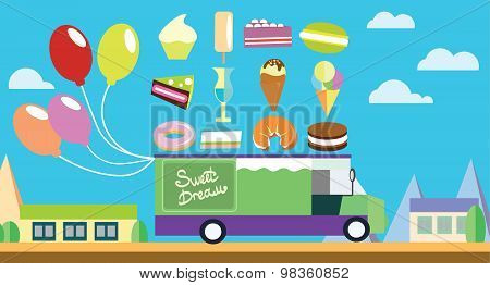 Holiday flat art wagon with ice-cream and sweets