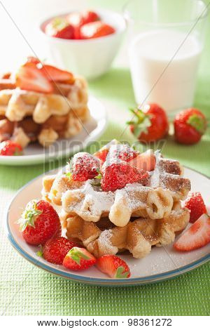 belgian waffles with icing sugar and strawberry