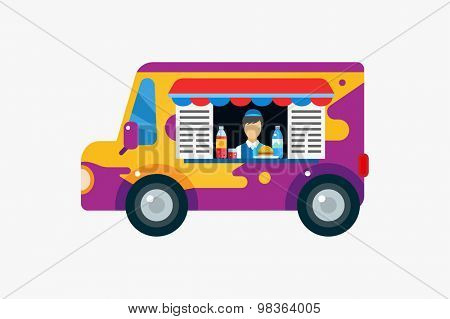 Fast food vector objects set. Car, outdoor, water bottle, juice, eat, ice cream, hamburger, hot dogs, mobile food or restaurant, fast food, lunch time. Design elements