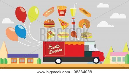 Red wagon fast food with baloons