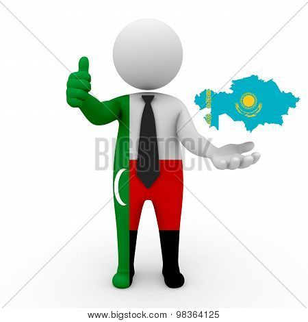 3d people Meskhetian Turks - map flag of Kazakhstan. Meskhetian Turks in Kazakhstan