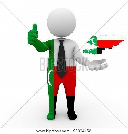 3d people Meskhetian Turks - map flag of Kyrgyzstan-Meskhetian Turks. Kyrgyzstan in Meskhetian Turks