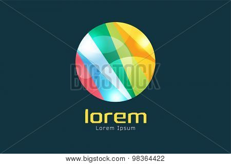 Vector circle abstract logo template. Round ring shape and infinity loop symbol, color line icon, creative idea or flow, colored lines. Company logo. Stock vector