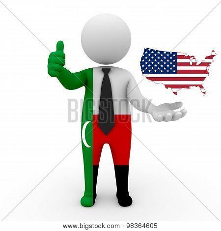 3d people Meskhetian Turks - map flag of USA. Meskhetian Turks in USA
