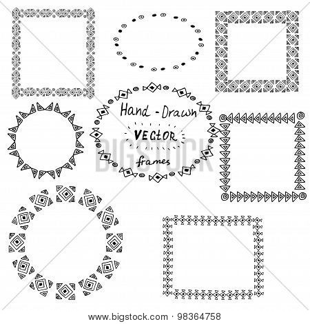 Set Of Circle Polynesian Tattoo Styled Frames
