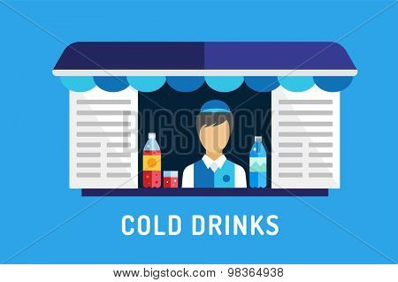 Water shop shop icons. Nature food. Nature product, vitamin symbol, auto restaurant, mobile kitchen, fresh nature drinks, fast food, blue, vegans. Design elements. Isolated on blue