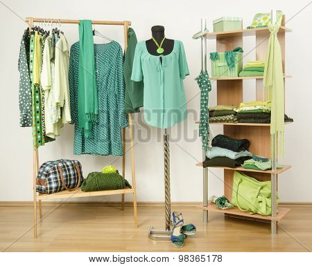 Dressing Closet With Green Clothes Arranged On Hangers And Shelf, Outfit On A Mannequin.