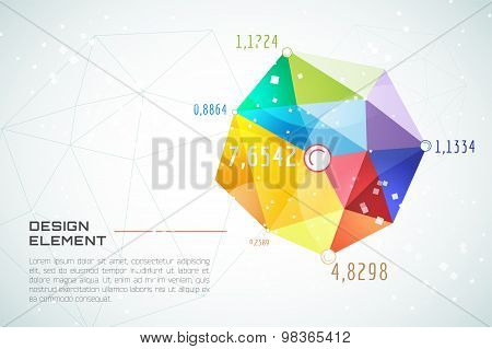 Abstract background vector technology wallpaper. Triangle, color lines, pattern and geometric art. S
