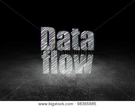 Data concept: Data Flow in grunge dark room