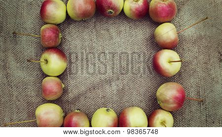 many red apples on old sacking cloth background, topic of  harvest time