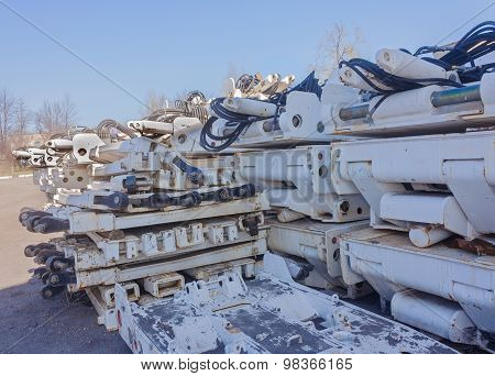 Mine Equipment Stockpiled At The Mine Yard