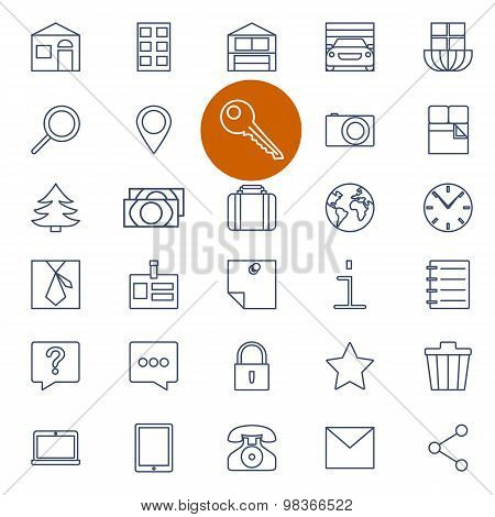 Set of outline icons for real estate sale
