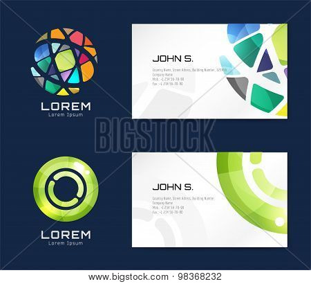 Vector globe logo business card template. Abstract arrow design and creative identity idea, blank, p