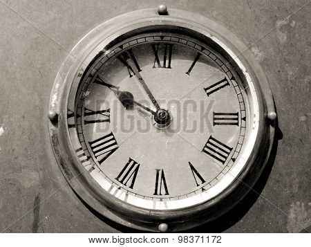 Black and white old clock