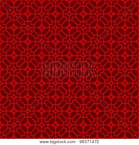 Seamless Chinese window tracery lattice polygon flower pattern.