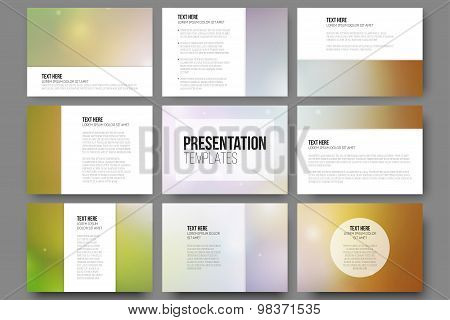 Set of 9 vector templates for presentation slides. Abstract vibrant background.
