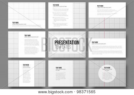 Set of 9 vector templates for presentation slides. School exercise book, education background