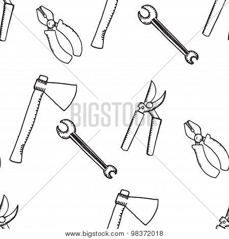 Hand drawn doodle seamless pattern. Work instruments. Tools.