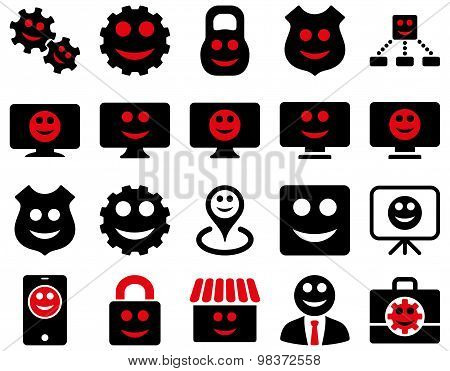 Tools, gears, smiles, dispays icons.